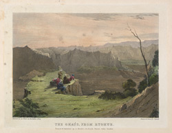 'The Ghats from Ryghur'.  Lithograph by J.H. Lynch.  Plate 6 from Eight Most Splendid Views of India, sketched by an Officer in the Indian Army, drawn and printed by Baron A Friedel, London, 1833.